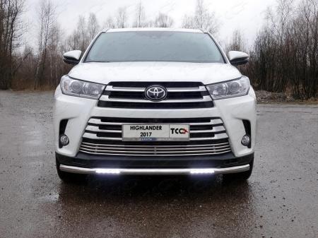 Toyota Highlander 2017-Защита передняя нижняя (с ДХО) 60,3 мм